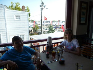 Enjoying a lunch overlooking the boat show.