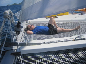 Graham relaxing on the sail over to Cooper Island.
