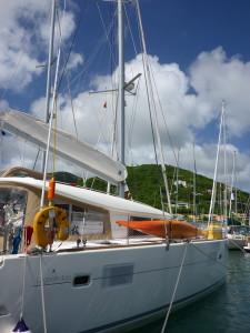 Docked at Nanny Cay marina.