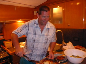 Kirk serving up dinner.