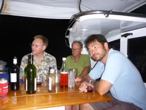 Graham, Tony and Greg relaxing with their drinks.