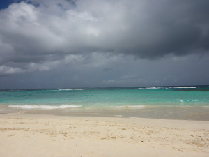 Flamenco Beach with storm brewing.